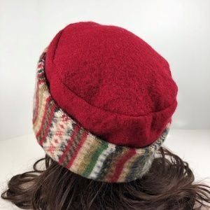 52d3efe5 Handmade Accessories - Upcycled Red Sweater Hat Stripes Flower Brooch Pin